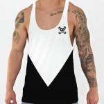 black aesthetic stringer vest front model view