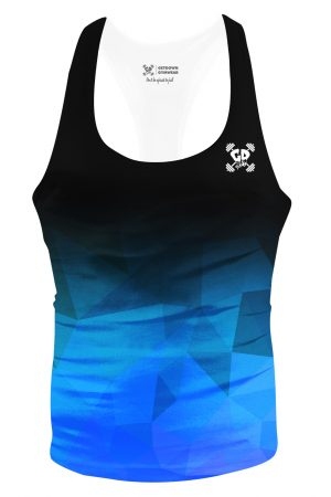black blue geometric fade stringer vest
