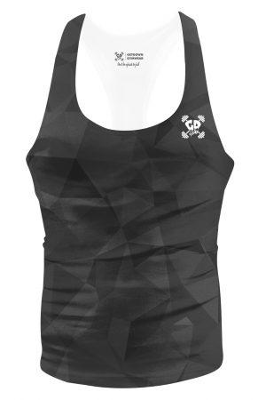 black geometric stringer vest