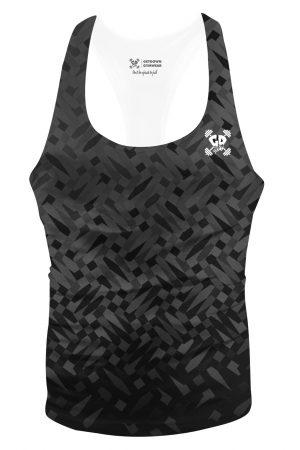 black mosaic stringer vest