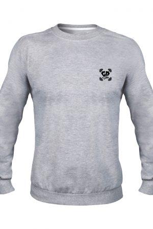 get down logo sport grey crew neck sweater