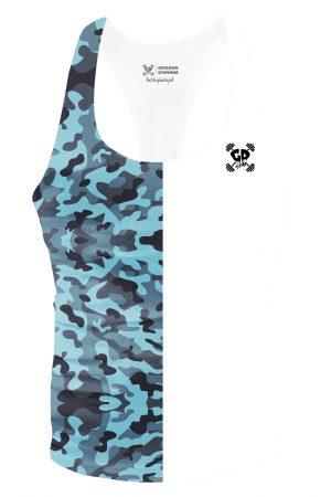 half blue camouflage stringer vest
