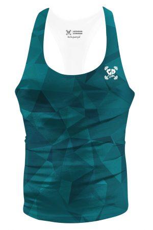 teal geometric stringer vest