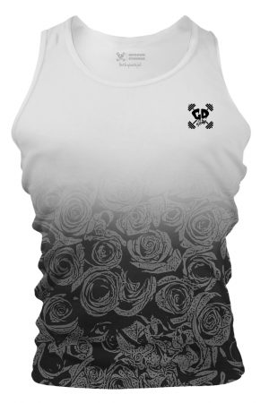White Grey Faded Rose Tank