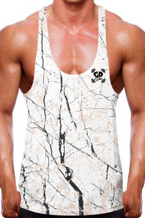 Cracked White Marble Stringer Vest